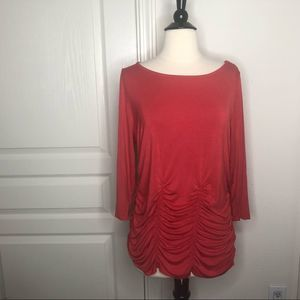 Soft Surroundings 3/4 sleeve Ruched Top Orange